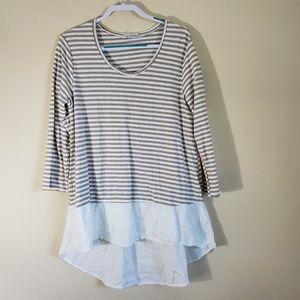 Cutloose Linen Blend Striped Tunic Size XL